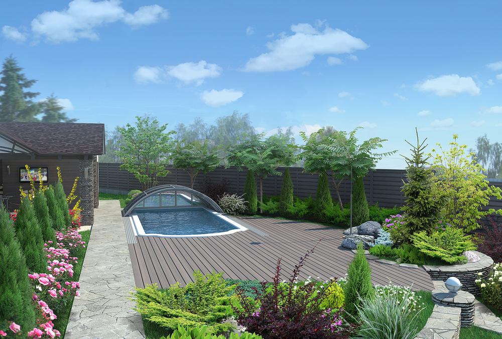 Jardin en 3D avec une piscine au milieu.